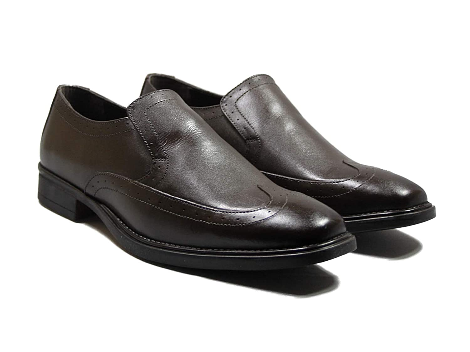 41f10e8918f Lucini Men's Leather Slip on Shoes in Black Tan Brown Size 6-12