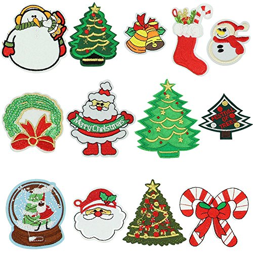 - MZYARD 13 Piece Christmas Embroidery Patches On Or Sew On Patches Applique