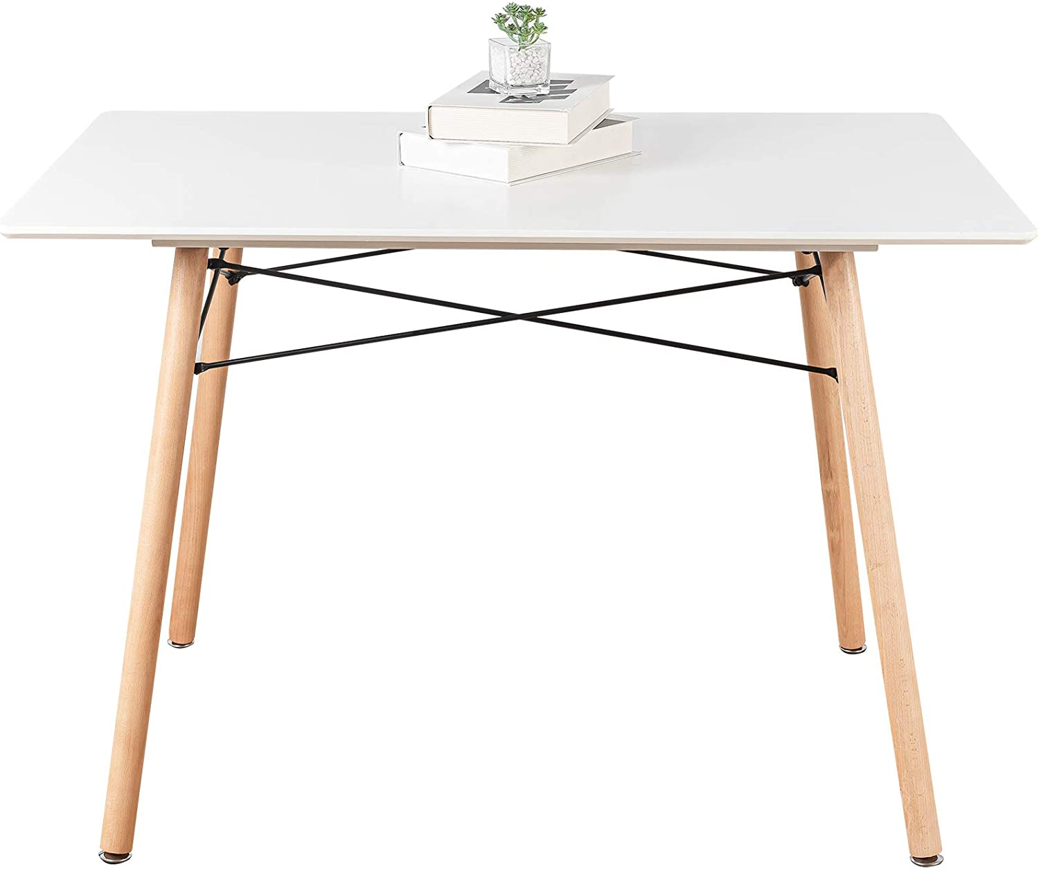 White Dining Table, Mid Century Kitchen Table, ELANGST Modern Coffee Desk  with 9