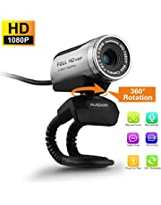 AUSDOM 1080P HD USB Webcam with Built-in Microphone,12.0MP,Auto Exposure, Zoom,Clip-On/Freestanding Network Camera Web Cam for Laptop/Desktop/Skype /FaceTime/Youtube/Yahoo Messenger
