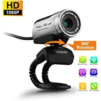 AUSDOM 1080P HD USB Webcam with Built-in Microphone,12.0MP,Auto Exposure, Digital Zoom,Clip-On/Freestanding Network Camera Web Cam for Laptop/Desktop/Skype /FaceTime/Youtube/Yahoo Messenger