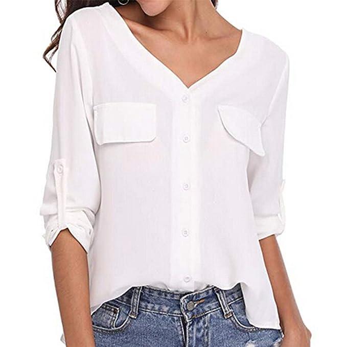 803160706537b2 Kword Magliette Felpa Donna Eleganti,Camicia Manica Lunga Bottone T-Shirt  Autunno Chiffon V-Neck Top Casual Camicetta Pullover Shirt: Amazon.it: ...