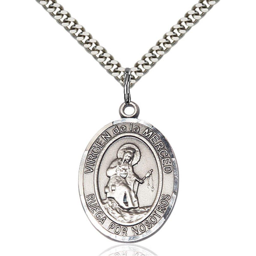 Bonyak Jewelry Virgen de la Merced Hand-Crafted Oval Medal Pendant in Sterling Silver