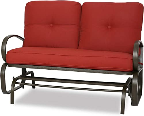 Patio Swing Glider Bench Outdoor Cushioed 2 Person Rocking Chair Garden Loveseat, Brick Red