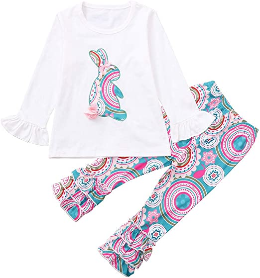 Bottom Pants 2PCS Set Unicorn Kids Baby Girls Outfits Clothes T-shirt Top Dress