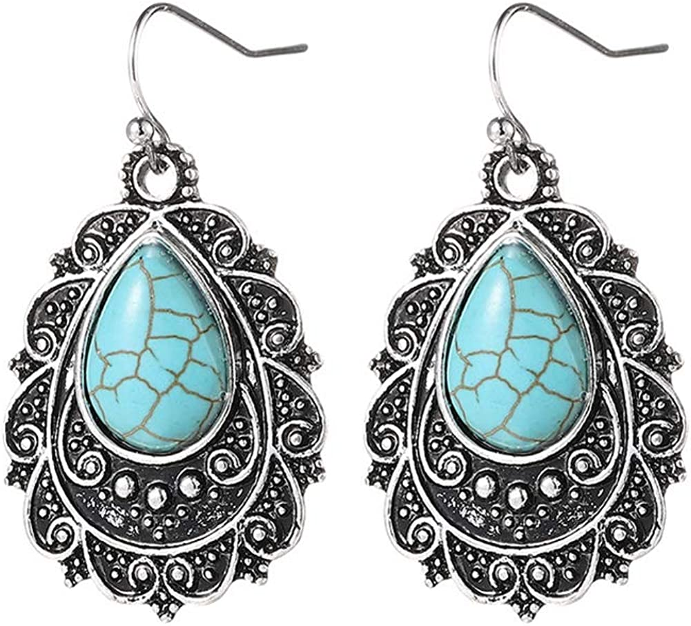 Fajewellery Retro Lágrima Turquesa Colgante pendientes Para Mujer