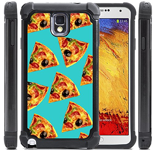 Samsung Galaxy Note 3 Case For Girls [CorpCase] - Aqua Pizza Pattern Cool Hipster - Girly Cool Trendy Cover Skin with Protective Hybrid Armor Hard Defender Case Made of HIGH GRADE PLASTIC & Silicone Rubber [Fits Note 3 III N9005 N9000]