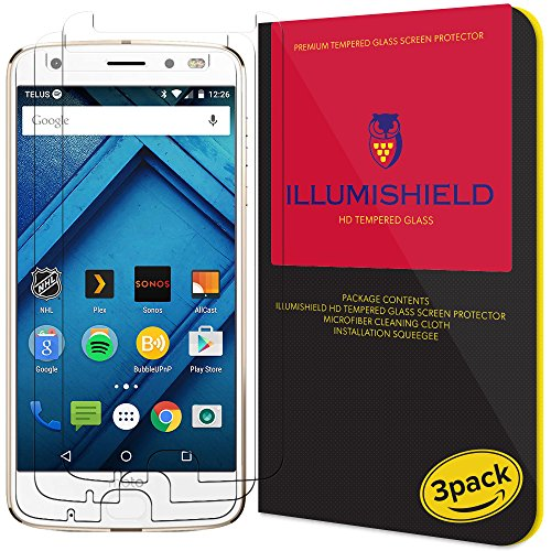 iLLumiShield Glass Screen Protector Compatible with Motorola Moto Z2 Force (3-Pack) Anti-Scrach, Case Friendly and No-Bubble Clear Tempered Glass