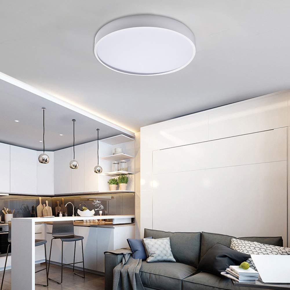 Blanco C/álido 2800K-3200K Moderna LED Plaf/ón para Ba/ño Dormitorio Cocina Sala de Estar Comedor Balc/ón Pasillo Bellanny Luz de Techo LED 48W LED L/ámpara de Techo /Ø50cm 4800LM