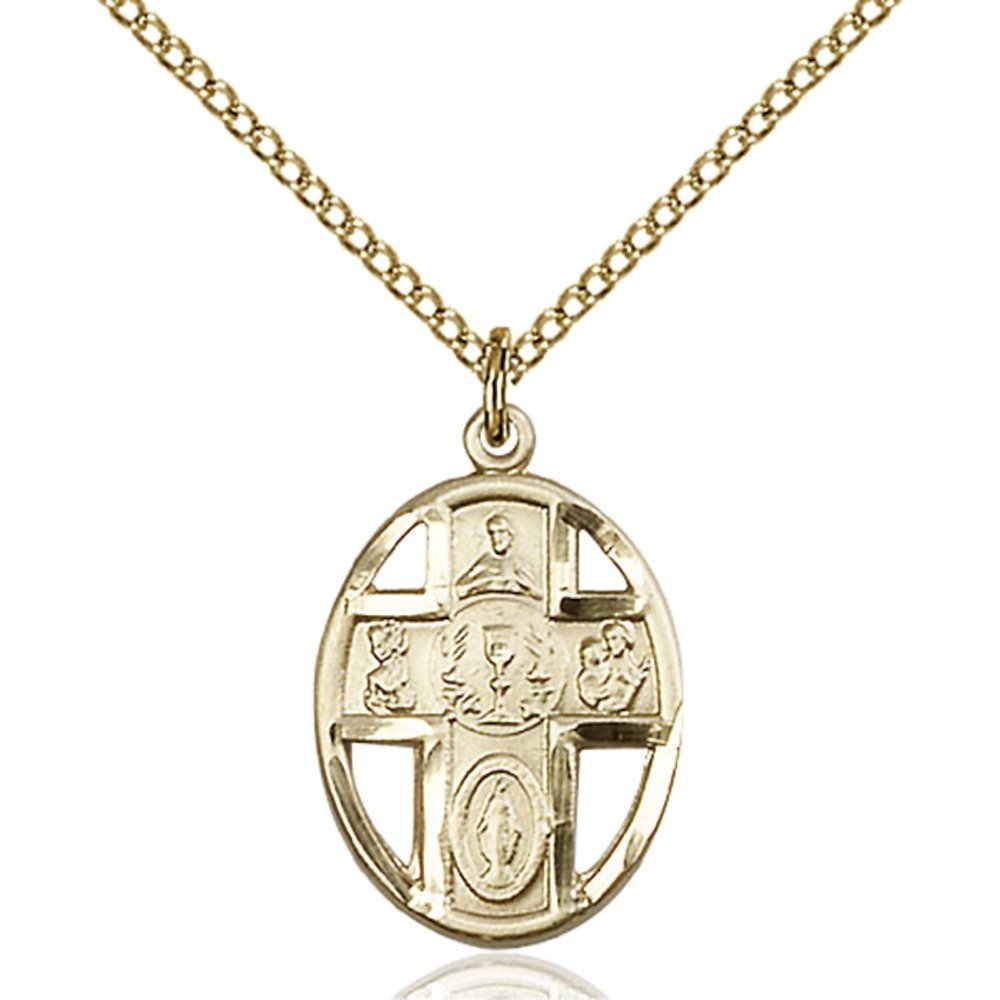 Gold Filled 5-Way / Chalice Pendant 3/4 x 1/2 inches with Gold Filled Lite Curb Chain by Bonyak Jewelry Saint Medal Collection