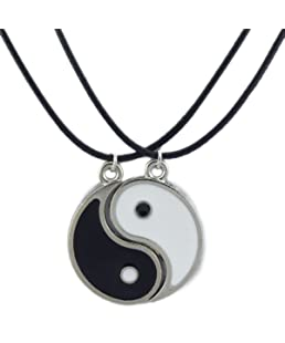 1set=2pcs Enamel Alloy Best Friend I Ching Bagua Tai Chi Ying Yang Pendant Necklace