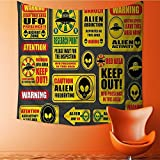 Apestry Home Decor Warning Signs with Alien ces Heads Galactic Paranormal Activity Wall Hanging for Bedroom Living Room Dorm 47W x 47L Inch