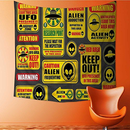 Apestry Home Decor Warning Signs with Alien ces Heads Galactic Paranormal Activity Wall Hanging for Bedroom Living Room Dorm 47W x 47L Inch by Vanfan