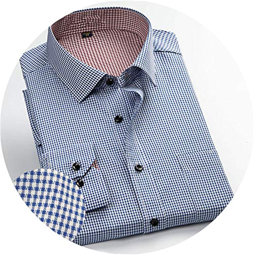 - romantico Men Shirt Male Casual Shirt Men's Long Sleeved Striped Plaid Shirts Business Dress Shirts S-4XL DS179,5760,Asian S Label 38