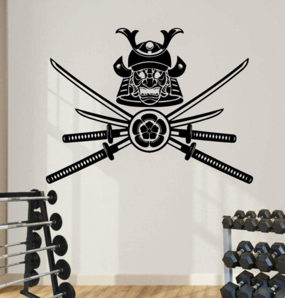 Etiqueta de la pared máscara samurai espada vinilo pegatina mural ...