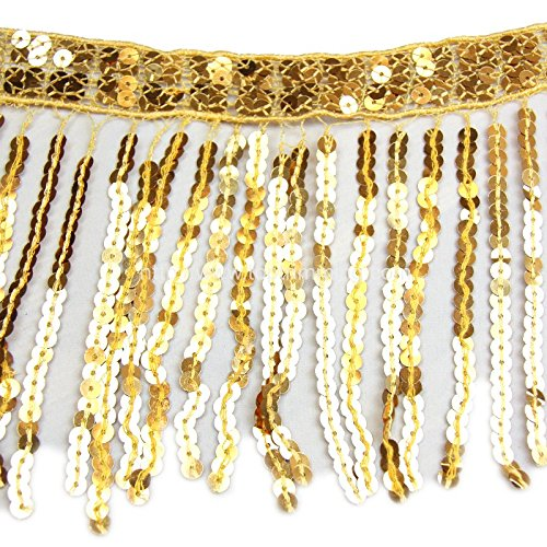 Selling Per Yard 12 Long SEQUINS FRINGES GOLD Available in different colors for your choice