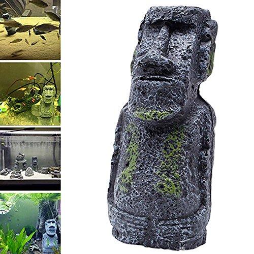 Ancient Easter Island Stone Head Aquarium Ornament, Fish Tank Decoration Accessories (Army Gree, L) - Easter Silk
