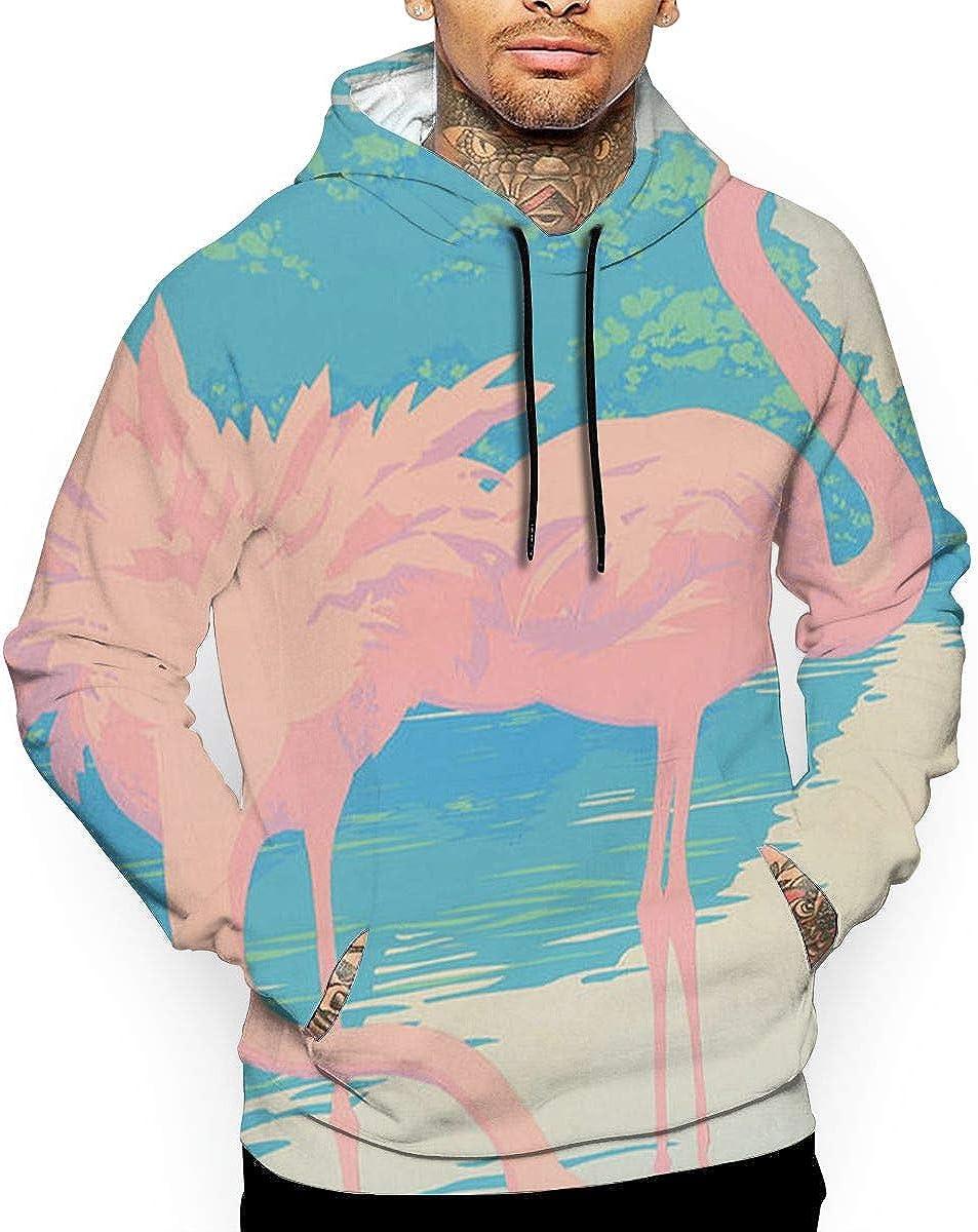 Watercolor Flamingos-1 Men 3D Print Pullover Hoodie Sweatshirt with Front Pocket