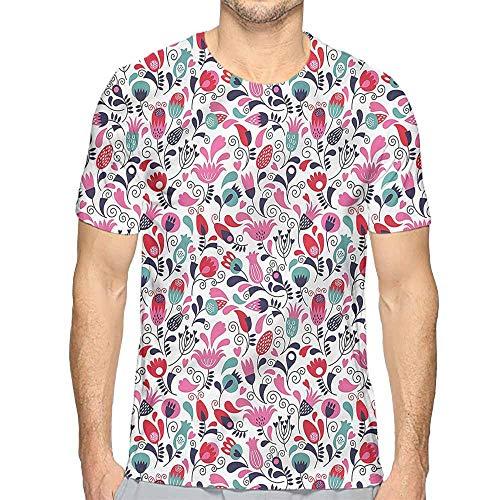 t Shirt Tulip,Ornate Swirls Tulip Art Printed t Shirt M
