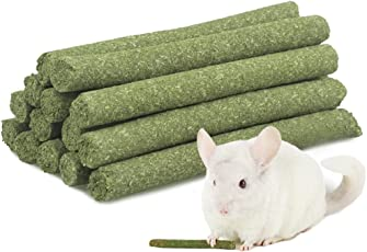 ULIGOTA 7oz (20Sticks) Alfalfa Grass Molar Rod for Rabbit Chincilla Guinea Pig and Hamster Chew Toy