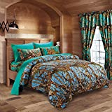 king camo quilt - 20 Lakes Luxurious Microfiber Powder Blue & Teal Camo Comforter & Sheet Set Bed in a Bag - Cal King