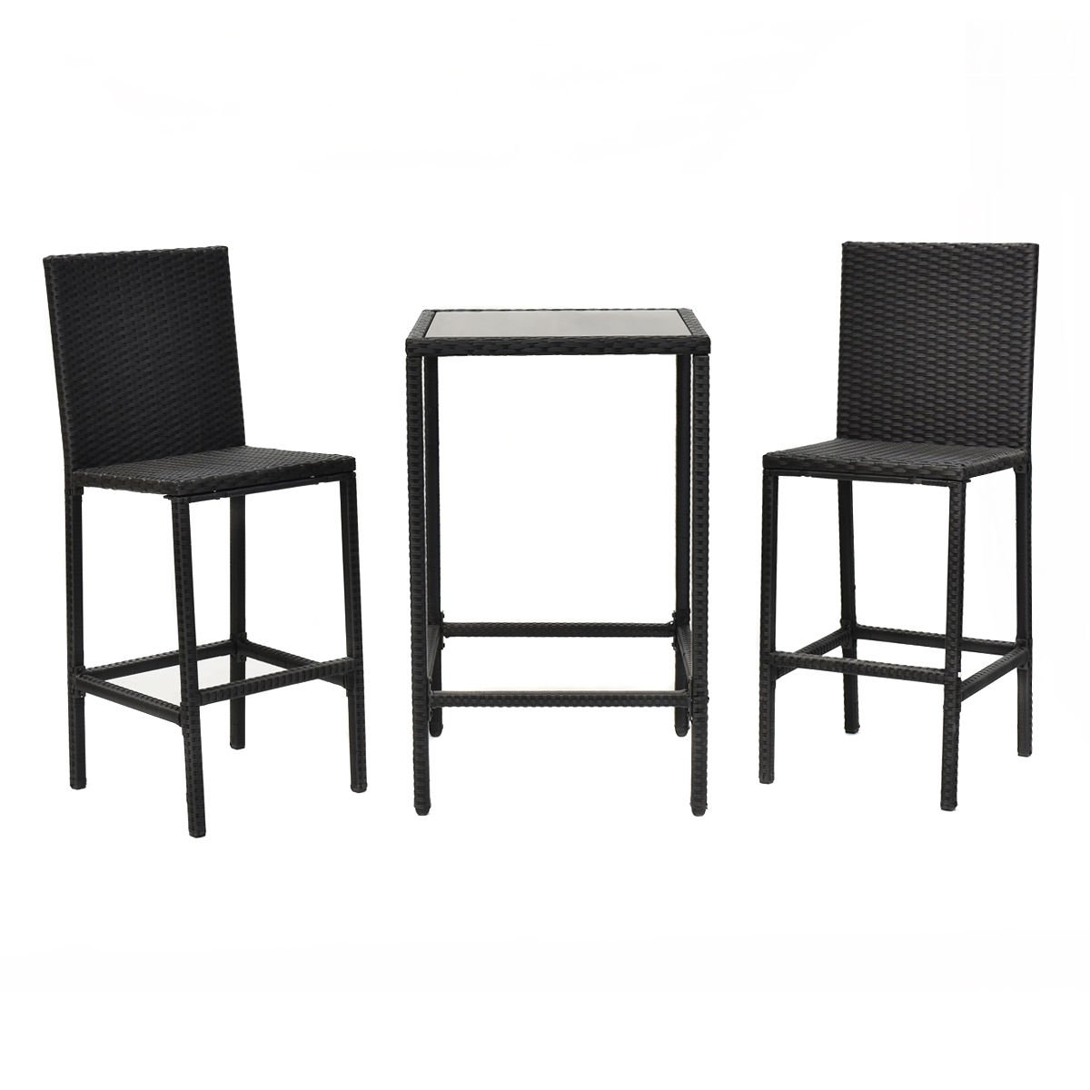 Dining Bistro 3PCS Rattan Wicker Bar Chair Table Frame Barstool Furniture Set With Ebook