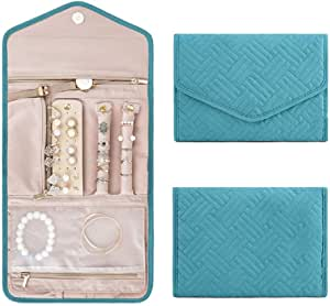 Travel Jewelry Organizer Roll Foldable Jewelry Case,Jewellery Box Organizer for Journey-Rings, Necklaces, Bracelets, Earrings,Pink