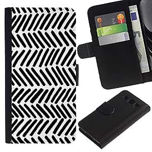 KingStore / Leather Etui en cuir / Samsung Galaxy S3 III I9300 / Patrón Nativo Arte Negro White Stripes Wallpaper