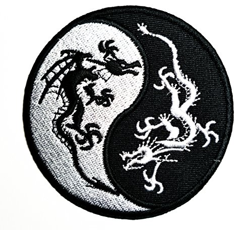 - HHO Yin Yang Black & White Dragons China Patch Embroidered DIY Patches, Cute Applique Sew Iron on Kids Craft Patch for Bags Jackets Jeans Clothes
