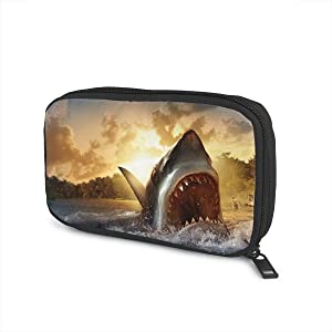 Abstract Shark Attack Ocean Universal Cable Organizer Bag for USB Cable Power Bank Accessories Storage Travel and Houseware