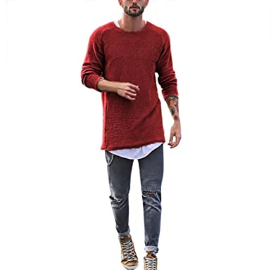 1a291a56 CCSDR Men Long Sleeve T Shirt, Solid Color Slim Fit Knitted O Neck Casual  Shirt Tops at Amazon Men's Clothing store: