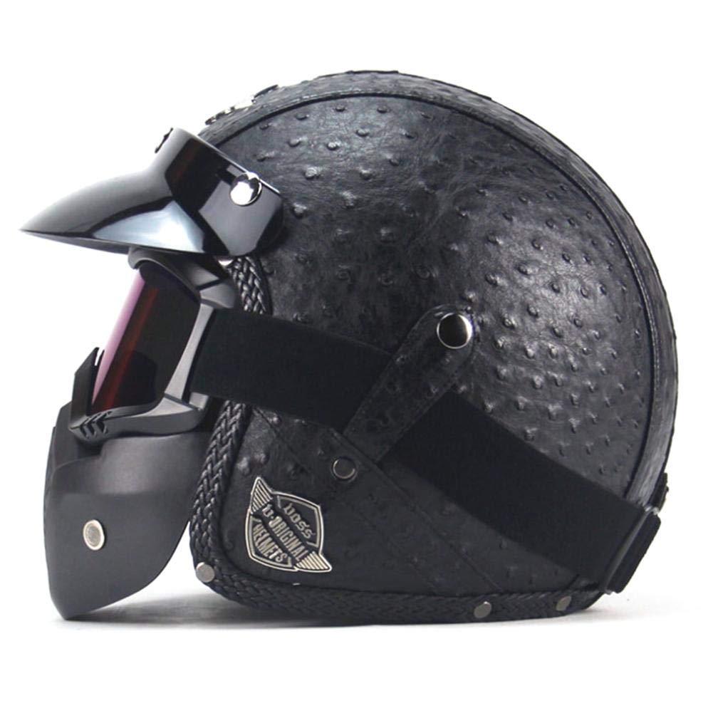 StageOnline Casco de Motocicleta Harley en Cuero de PU Chopper Casco de Motocicleta 3//4 Casco y Gafas de Moto Vintage
