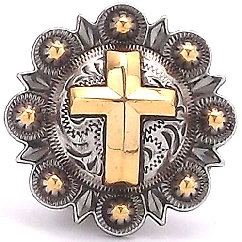 Cross Berry Concho Antique Silver and Rose Gold 1-1/2
