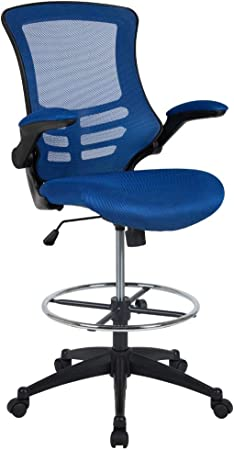 Flash Furniture Mid-Back Blue Mesh Ergonomic Drafting Chair - Runner Up