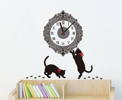 Cute Cat Creative DIY Clock Wall Sticker Clock Wall Decals Clock Home Art Decor Decal Vinyl  sc 1 st  Amazon.com & Amazon.com: Cute Cat Creative DIY Clock Wall Sticker Clock Wall ...