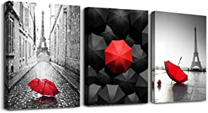 "Black and white Eiffel Tower scenery Canvas wall art for living room bathroom Wall Decor bedroom wall Artworks red umbrella watercolor painting Canvas art 12"" x 16"" 3 Piece modern office Home Decor"