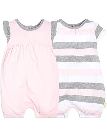 e40b050dc5 Burt's Bees Baby Baby Girls Rompers, Set of 2 Bubbles, One Piece Jumpsuits,