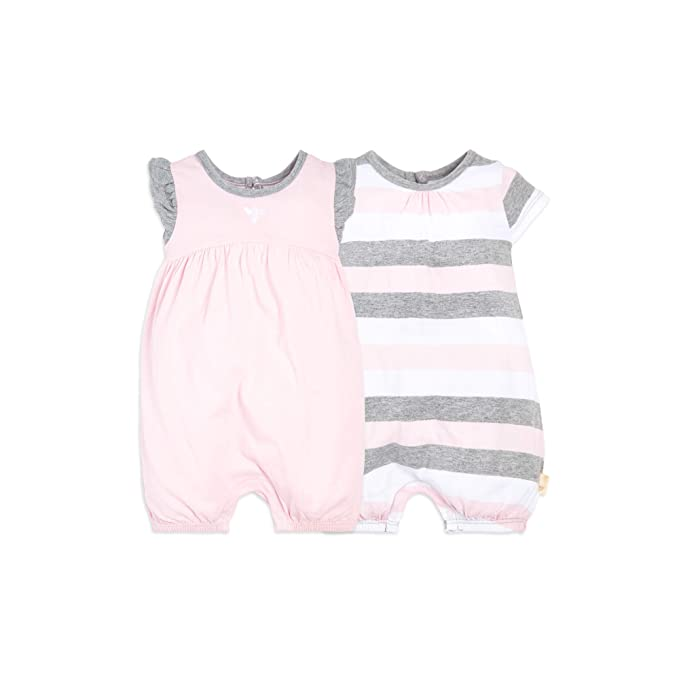 970b1e1e5 Burt's Bees Baby Baby Girls Rompers, Set of 2 Bubbles, One Piece Jumpsuits,