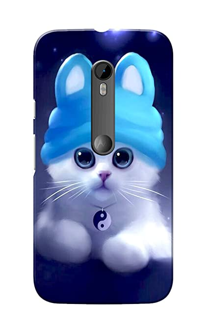 size 40 9fdf5 7ac4c Caseria Slim Fit Cute Kitten Hard Case Back Cover for Moto G 3rd Gen (Blue)