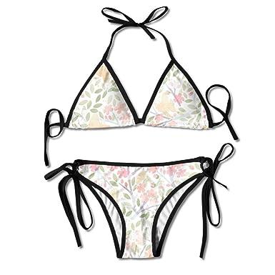 3335892a49081 Amazon.com: Cherry Blossoms Bikini Women's Summer Swimwear Triangle ...