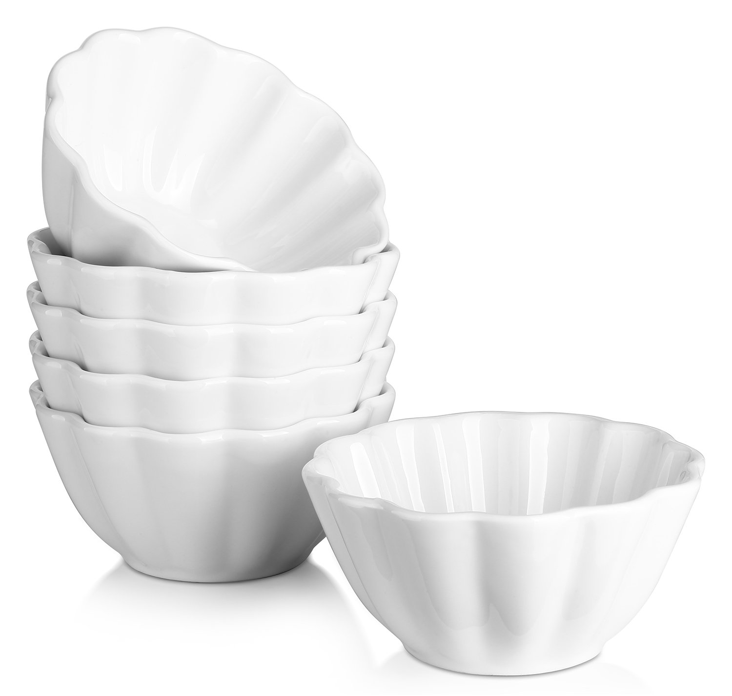 Dowan 4-oz Porcelain Ramekins/Serving Bowls for Souffle, Creme Brulee and Dipping Sauces, White, Set of 6