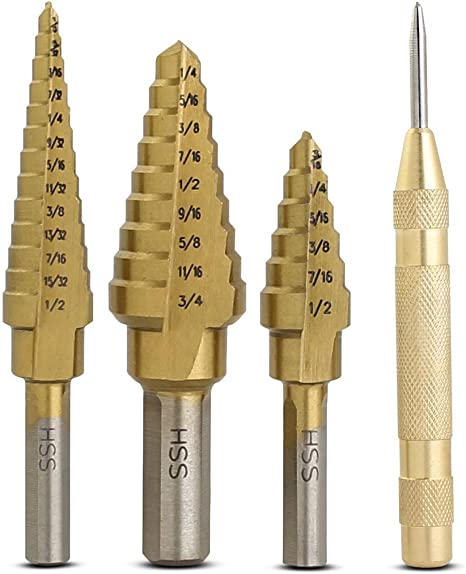High Speed Steel with 28 Total Sizes Bastex Step Drill Bit 3 Piece Set /& Automatic Center Punch