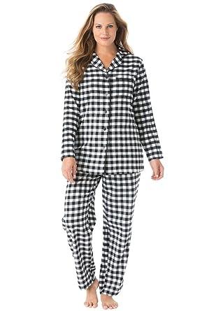 Dreams & Co. Women's Plus Size Petite Plaid Flannel Pjs Black ...