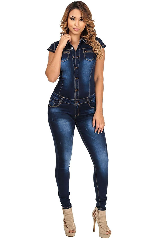 Donna Casual Jumpsuit Jeans Playsuit Siamese Slinky Playsuit Pantaloni Rompers Tuta Senza Maniche V-collo Nuovo donna denim attillata tuta tutina abbigliamento casual Club Wear