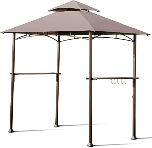 Giantex Barbecue Grill Gazebo BBQ Canopy Tent Outdoor Patio Shelter Double Tier UV-Resistant Roof W/Air Vent Steel Frame Hooks Bottle Opener