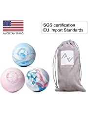 FITZELAR Massage Therapy Balls, SGS Certification,Relieving Muscle Fatigue After Exercise,for Trigger Point Massage on Feet,Arm,Neck full Body,Gift pocket (1 Ball and 1 Bag) Blue Mix Pink