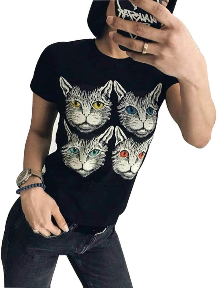 Camiseta de Manga Corta con Estampado de Gato de Primavera y Verano para Mujer: Amazon.es: Ropa y accesorios