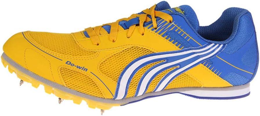 FJJLOVE Calzado de Atletismo Unisex Desgaste Resistente Picos de Campo traviesa Competencia Profesional Running Calzado de Entrenamiento Zapatillas de Deporte,Amarillo,36: Amazon.es: Hogar