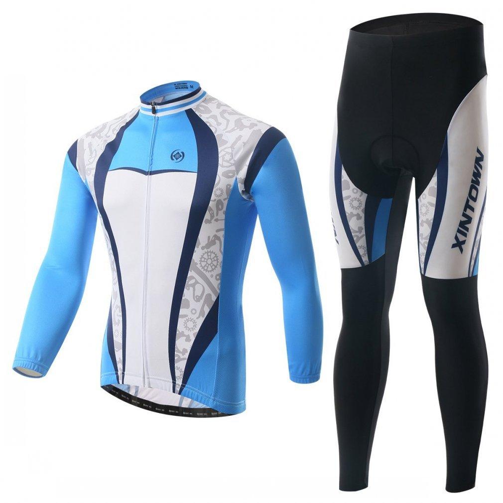 besylユニセックスPrintedハイパフォーマンスメッシュサイクリング服スーツ、通気性長袖サイクリングジャージーとよだれかけのパッド入りパンツキット自転車自転車乗馬Biker (ブルー濃い青色ホワイトグレー) B016NZBJA0 XXXL (US XXL) Long-Set Long-Set XXXL (US XXL)