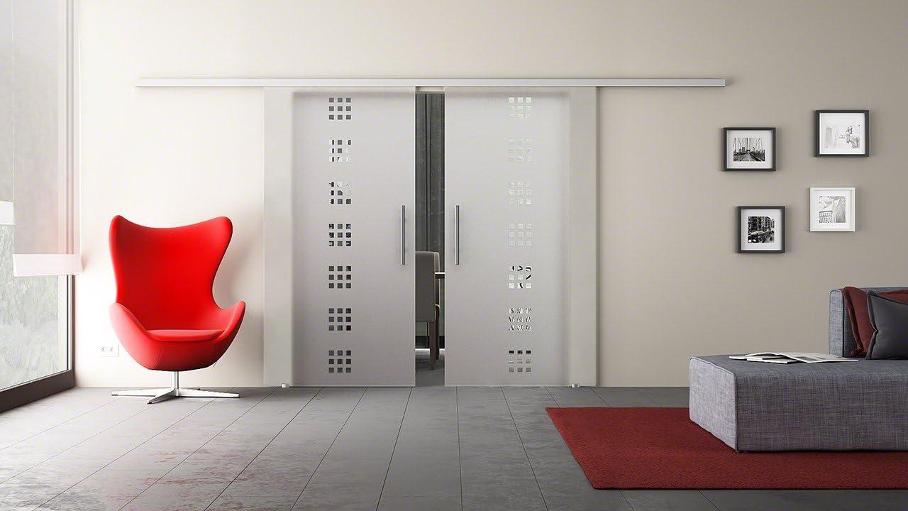 Puerta Corredera de Cristal Doble con Dos Discos Puerta Corredera de equipo completo con carril de unidad & Barra asas & Diseño: cuadrado (Q) – Dorma Agile 50 Herraje – Fabricado en